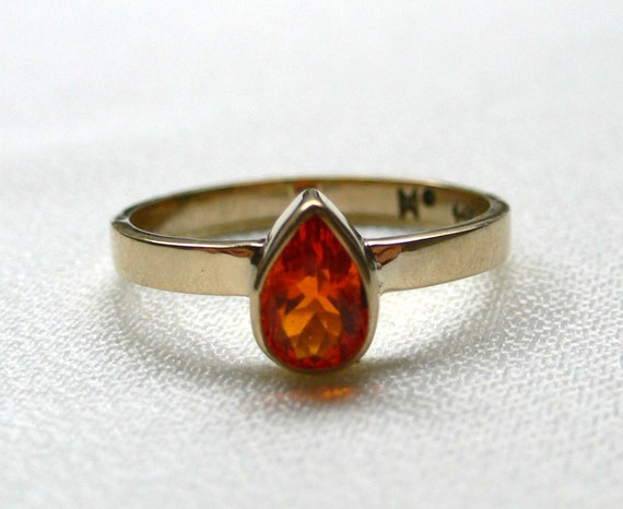 14 Karat Gold Classic Band with Mexican Fire Opal
