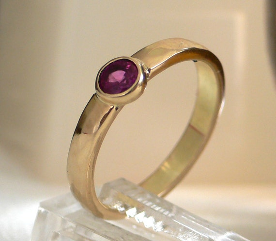Ruby Ring in 14 karat Hammered Yellow Gold