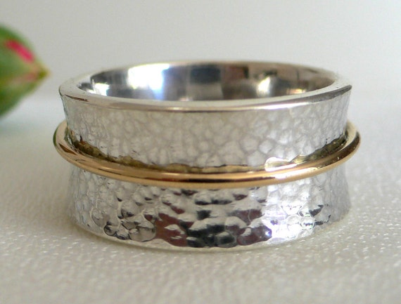 Silver & 14 Karat Gold Meditation Ring