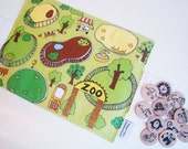 Flip Mat -  Zoo Edition - a Portable, Pretend Play Game inspired by Montessori and Waldorf Philosophies