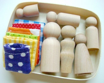 The Family Box - Wooden Little People Playset - Learning Toy Montessori and Waldorf Inspired Natural Play