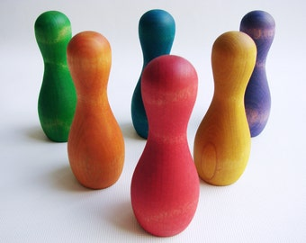 Rainbow Skittles Ball and Pins - A Montessori and Waldorf Inspired Wooden Tabletop and Bowling Game