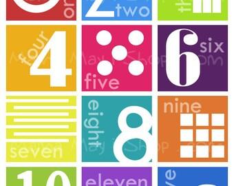 Number Chart Modern Art Nursery Art