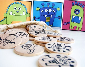 NEW- Make a Match Memory Game - MONSTER Edition - Montessori and Waldorf Inspired