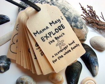 Wooden Travel Game - Mama May i EXPLORE - Beach Edition - A Montessori and Waldorf Inspired Scavenger Hunt Game