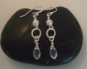 Freshwater Pearl and Crystal Dangle Earrings