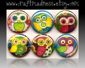 Owl button magnets or pinbacks, Because I Give a Hoot, decorative watercolor art, magnabilities compatible, jewlery, necklace, pendant, ring