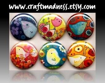 Birdies Among Bulbs decorative button magnets or pinbacks