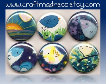 Over Blue Skies Blue Birds Fly decorative button magnets or pinbacks, magnabilities compatible, jewelry, pendant, necklace, ring