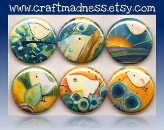 Bright Bright Bright Bright Sunshiny Day decorative button magnets or pinbacks