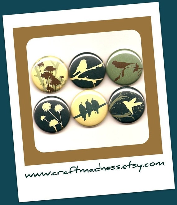 Birds in Blooms Set 2 decorative button magnets or pinbacks, magnabilities jewelry necklace pendant ring