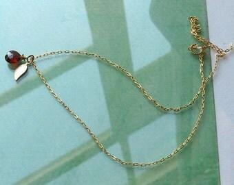 SASHA- gorgeous garnet and vermeil leaf necklace