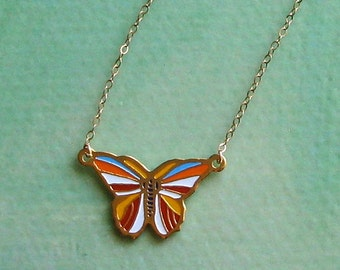 MADAME BUTTERFLY- vintage butterfly pendant necklace