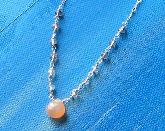 CHLOE- elegant moonstone and smoky quartz necklace