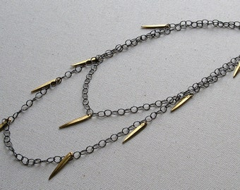 MALACHY- long mixed metal necklace