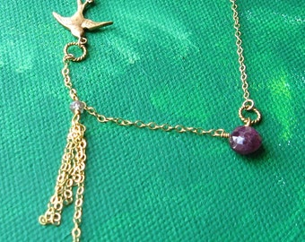 FANTASY FLIGHT- tourmaline\/smoky quartz and 14k goldfill necklace