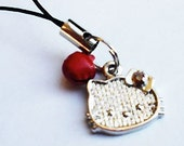 Hello Kitty Phone Charm with the Red Jingle Bell