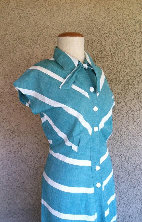 1940s Chevron Striped Cotton Day Dress