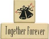 Wedding Together Forever Shabby Chic Shelf  Blocks