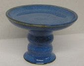 Denim Sky Porcelain Footed Plate Cupcake Candle Stand