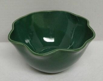 Deep Grass Green Porcelain Flower Bowl