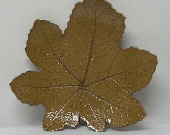 Spotted Brown Stoneware Hollyhock Leaf