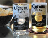 Handcrafted Juice Beer Drinking glasses Upcycled from Corona Bottles