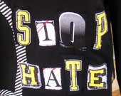 """Ladies Small Tricked Out Cotton Hoodie- """"Stop Hate"""""""