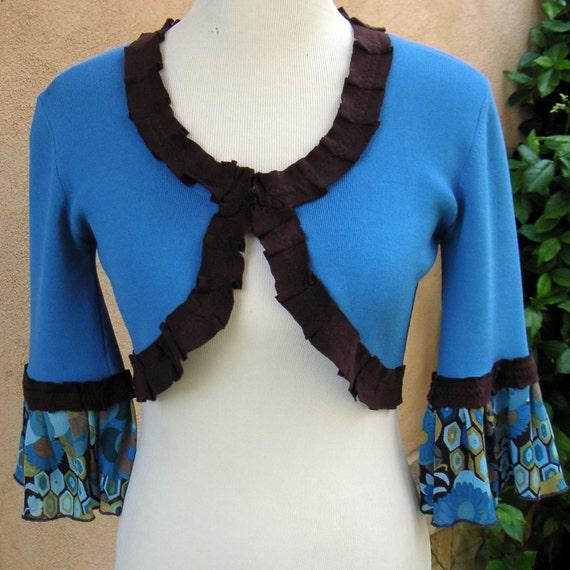 SALE-Women's Upcycled Small Bolero Sweater- Turkish Delight