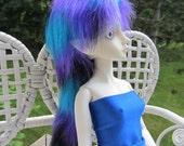 "BJD MSD Blue Purple Black Ponytail mix Fur Wig 6-7"""