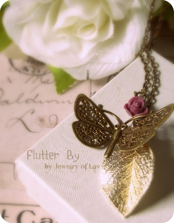 Flutter By necklace made with butterfly charm, Japan rose, gold leaf etc.