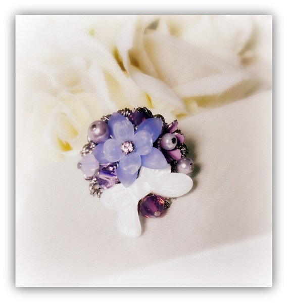 Purple Bouquet Ring made with vintage flowers, swarovski crystals, pearly ribbon, rhodium ring base etc.