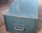 Olive Green Cole Metal File Box, Medium Size
