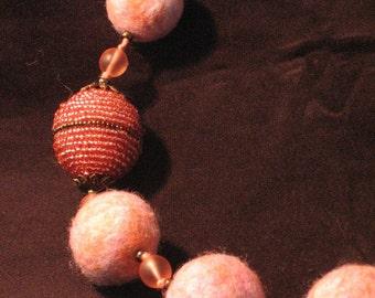 Felted Wool Necklace - Byzantine Sunrise