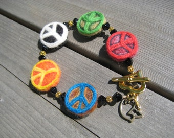 Peace Sign Felted Wool Bracelet - Primary Colors