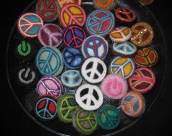 Peace Sign / Needle Felted Mini Brooches