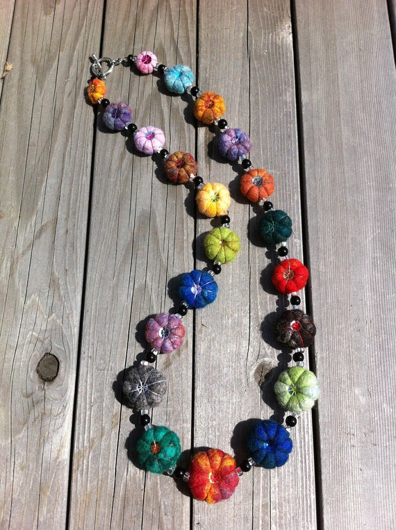Felted Wool Cushion Bead Necklace
