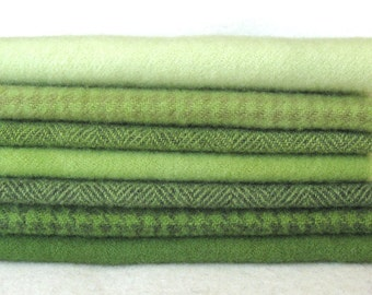 15 x 12 Apple Green Hand Dyed and Felted Wool Fabric Number 4335