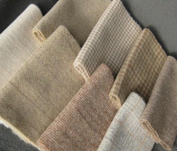 Natural Wool Fabric Bundle / Felted Number 2785D