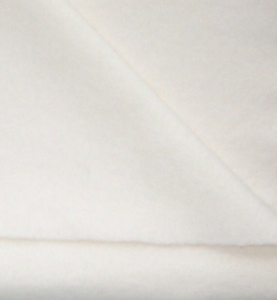 White Wool Fabric / One Yard - Felted