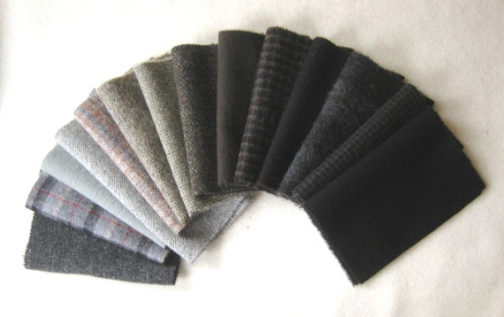 Black, Brown, and Grey Tones Wool Fabric Bundle / Felted Number 2664D