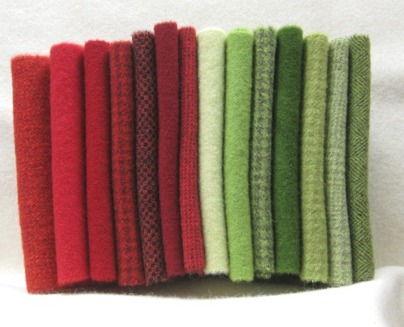 Hand dyed felted wool fabric in a wonderful combination of red and green tones 2677C