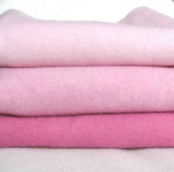 """Hand dyed felted wool in a combination of three pink fat eigths 15"""" x 13"""""""
