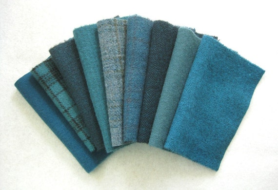 Hand Dyed and Felted Wool Fabric Turquoise Teal Perfect for Rug Hooking and Applique Number 2836
