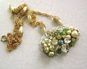 Sale 15% off for Christmas - Gorgeous Greens Repurposed Vintage Jewelry Unique Collage Necklace