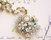 Christmas 15% off - Charming Wedding Collage Necklace - Vintage Shabby Chic White Posy Unique Jewelry