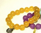 Yellow Sunshine Jade Stretch Bracelet with Silver Shell charm
