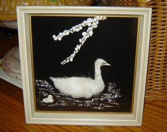 Beautiful Vintage Feathered White Swan Three-Dimensional Wall Hanging