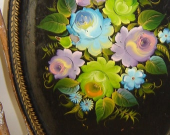 SALE, Brightly Painted Russian Serving Tray, Metal