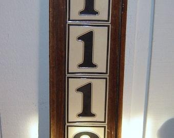 old german tile house number plaque, no. 1112
